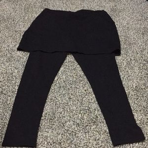 Pants - Black Skirted leggings with pockets